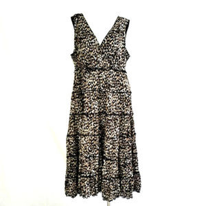 Leopard Print Sleeveless Empire Cocktail Dress